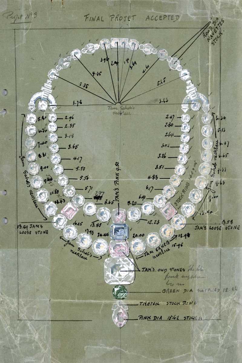 Bản vẽ chi tiết chiếc vòng cổ nguyên bản được thiết kế bởi Jacques Cartier vào năm 1931.