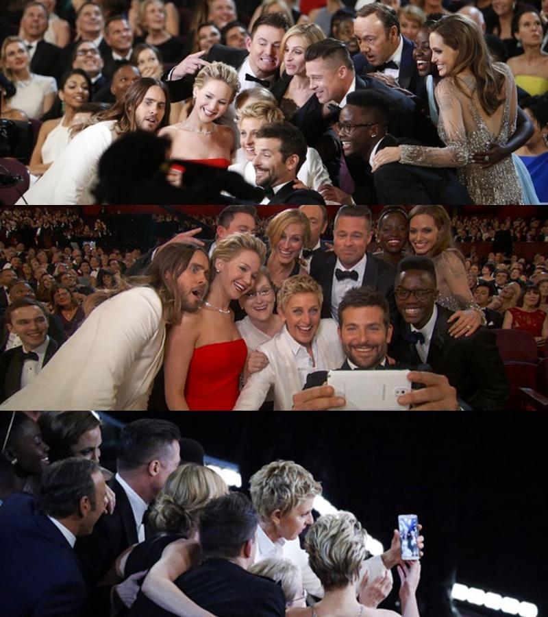 Một bức được chụp tại giải Oscar vào tháng 2/2014 gồm một dàn sao nổi tiếng là nữ MC Ellen DeGeneres cùng với các ngôi sao như Meryl Streep, Julia Roberts, Brad Pitt, Angelina Jolie, Jared Leto, Bradley Cooper, Kevin Spacey. Được xem là một trong những khoảnh khắc ấn tượng nhất, Bức ảnh phá vỡ kỷ lục trên Twitter với hơn 3 triệu lượt chia sẻ.