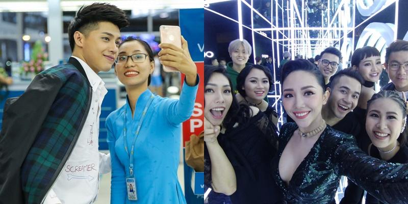 Selfie là một công cụ hữu ích cho giới nghệ sĩ. Điển hình là nam ca sĩ điển trai Noo Phước Thịnh và nữ ca sĩ Tóc Tiên cũng không nằm ngoài danh sách này.