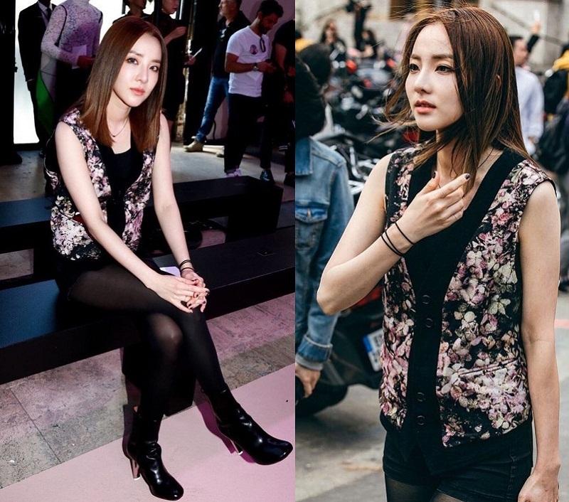 Sandara Park (Dara) gây chú ý gương mặt xinh đẹp như mới 20 và đặc biệt là set đồ đen sành điệu với điểm nhấn từ chiếc áo vest hoa.
