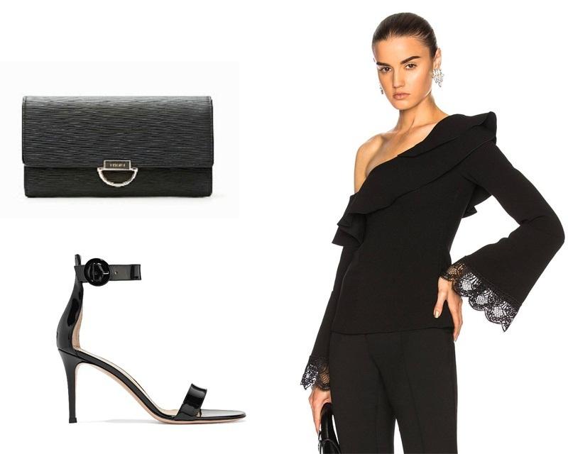 Một chiếc áo đen trễ vai nữ tính chắc chắn là lựa chọn tối ưu cho mùa hè này. Set đồ này sẽ trở nên hoàn hảo hơn khi kết hợp với giày cao gót.