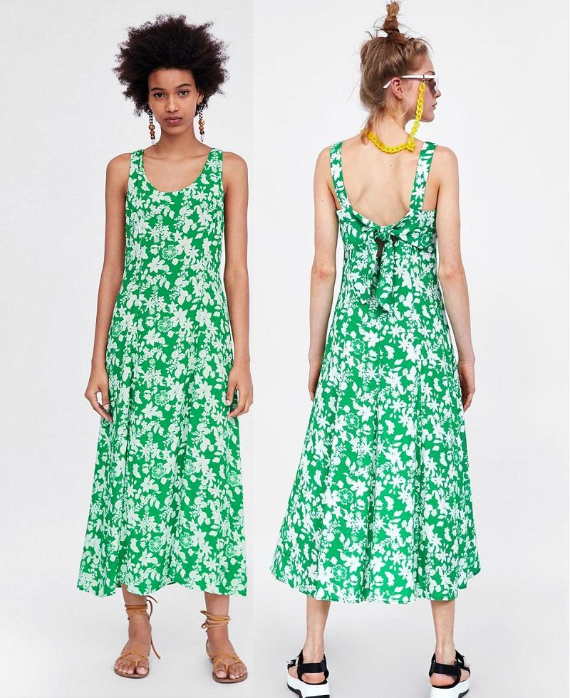 Chiếc đầm hoa xanh mướt mát của Zaza với thiết kế cổ chữ U và lưng chữ U dành riêng cho những chiều nắng lửa.
