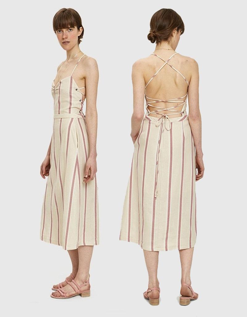 """Chiếc đầm hở lưng chất liệu lanh từ Farrow sẽ tạo cho bạn cảm giác thoải mái như """"không mặc gì"""". Giá cả """"hạt dẻ"""" chưa đến 100 USD cũng là điểm cộng của thiết kế vô cùng sexy này."""