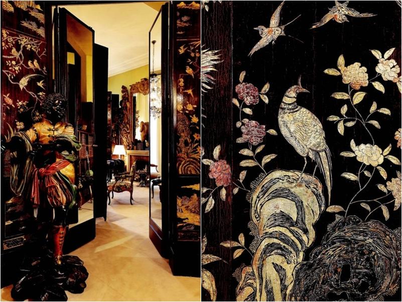 Bức bình phong sơn mài được đặt giữa phòng khách (trái) và nhiều bức tranh sơn mài vẫn còn được lưu giữ trong nhà của Coco Chanel cho đến nay.