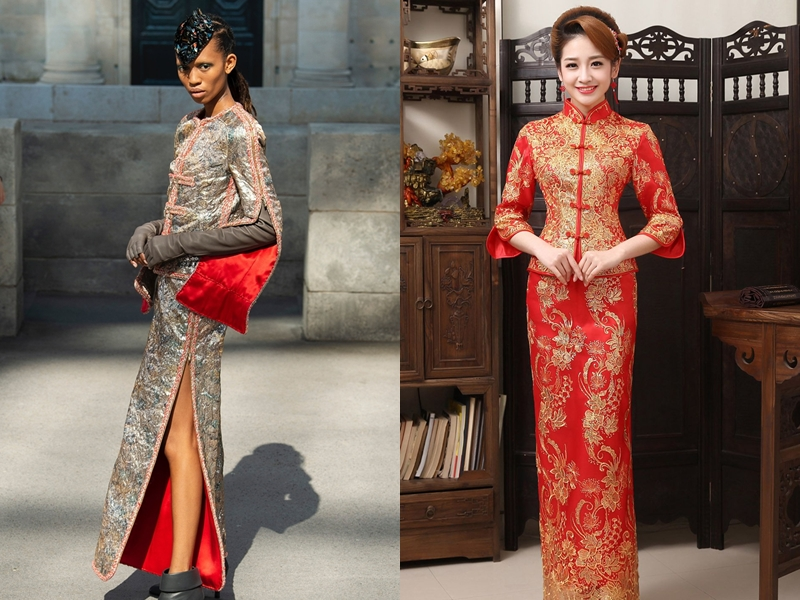 """Giữa """"rừng"""" thiết kế được phủ kín bởi những màu sắc trung tính, một bộ váy dài xẻ tà đã trở nên nổi bật nhờ tông màu đỏ, cùng những dây khóa kéo trước ngực giống hàng khuy tàu trên bộ sườn xám của người Trung Quốc."""