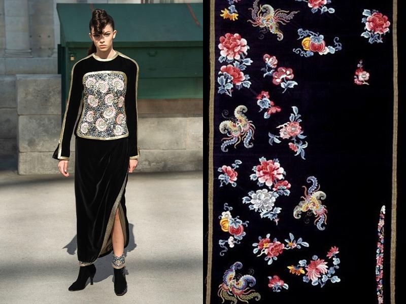Các thiết kế thêu hoa trên nền vải nhung đen kết hợp đường viền rập nổi cũng dễ khiến người ta liên tưởng đến loại vải được nhiều người phụ nữ phương Đông lựa chọn, nhờ sự quý phái, sang trọng của chúng.