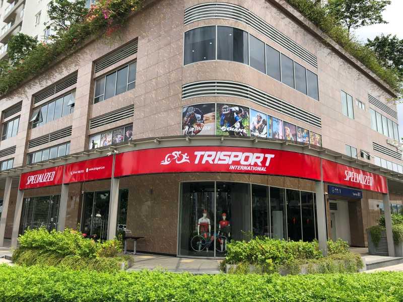 Mặt tiền showroom Trisport International tọa lạc tại khu đô thị Sala, Q.2, Tp.HCM.