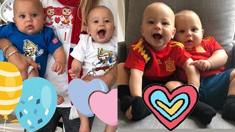 """Kournikova cùng con """"chia tỉ số"""" hòa trước trận cầu giữa Nga và Tây Ban Nha"""