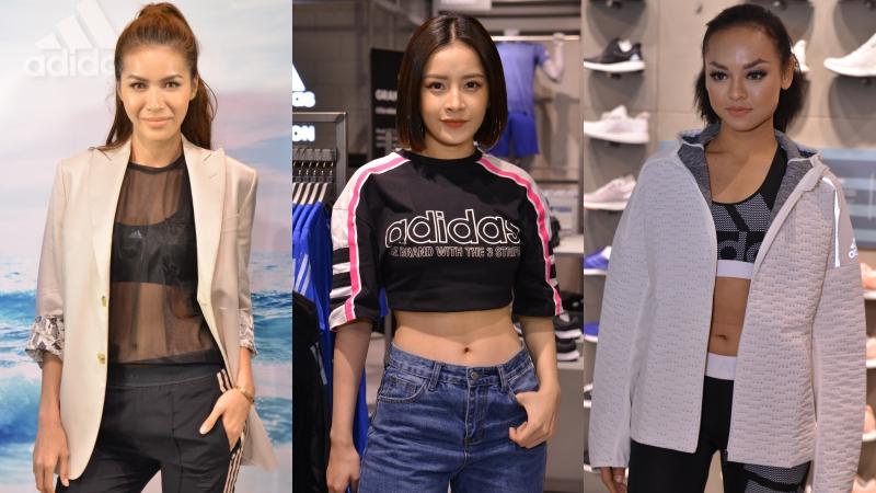 """Chi Pu """"đọ"""" eo con kiến với Minh Tú và Mai Ngô tại sự kiện khai trương cửa hàng adidas"""