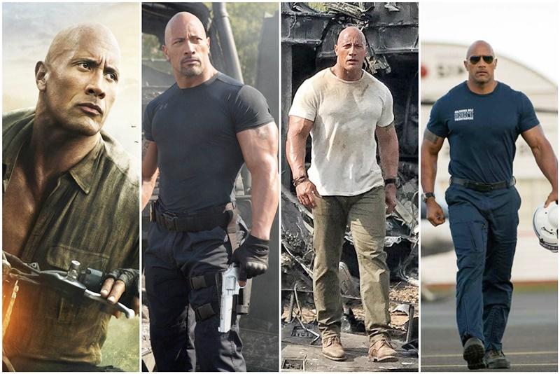 Tạo hình không mấy khác biệt của Dwayne Johnson trong các bộ phim anh tham gia: cơ bắp vạm vỡ, súng ổng sẵn sàng, gương mặt nghiêm nghị.