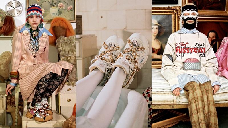 """Người mẫu đội mũ trùm kín mít, mang giày """"cục mịch"""" trong chiến dịch quảng cáo Thu Đông 2018 của Gucci"""