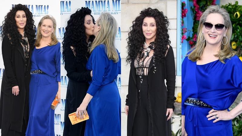 """Meryl Streep và Cher thản nhiên khóa môi trên thảm đỏ công chiếu """"Mamma Mia! 2"""""""