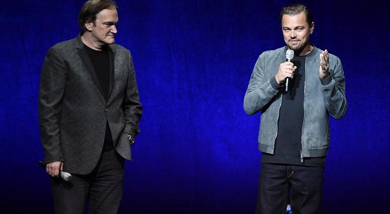 """Đạo diễn tài ba Quentin Tarantino (phải) và tài tử Leonardo DiCaprio (trái) trong buổi họp báo về bộ phim """"Once Upon A Time In Hollywood"""".Tài tử Leonardo DiCaprio sẽ sắm vai chủ lực trong bộ phim lần này."""
