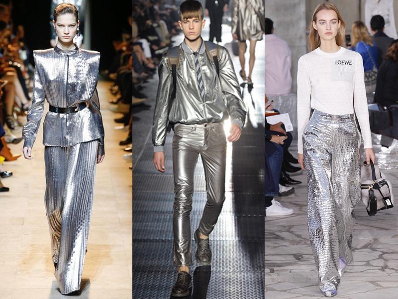 """Quần ánh kim với sắc vàng, bạc được cho là lấy cảm hứng từ những thiết kế mà MJ đã từng mặc luôn trở lại và """"huyên náo"""" sàn diễn Thu - Đông hằng năm."""