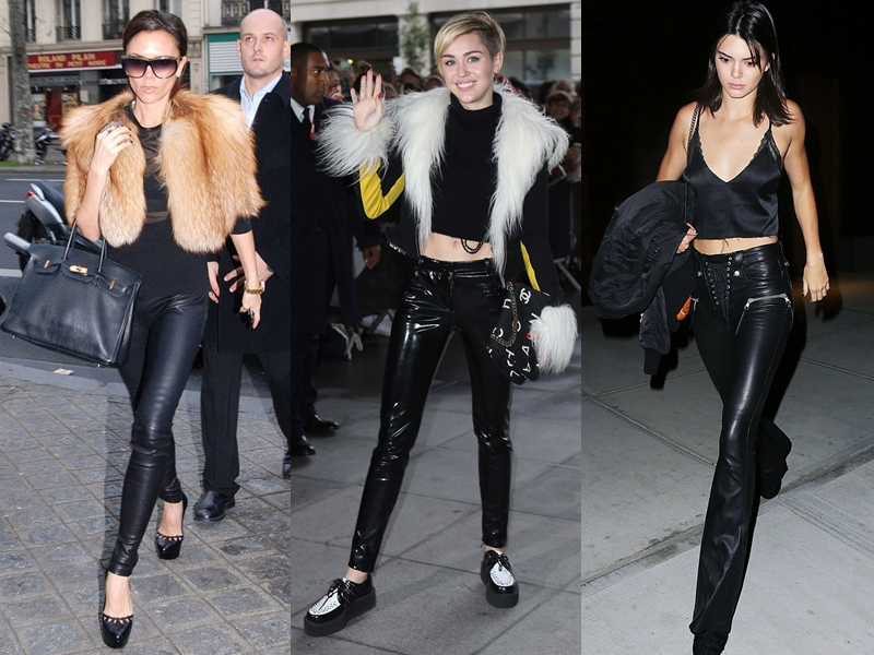 """Từ những quý bà """"sang chảnh"""" như Victoria Beckham (trái), đến ngôi sao của thế hệ 9x Miley Cyrus (giữa) đến những fashion icon trẻ như Kendall Jenner đều sở hữu một chiếc quần da trong tủ đồ của mình bởi vẻ sành điệu mà nó mang lại."""