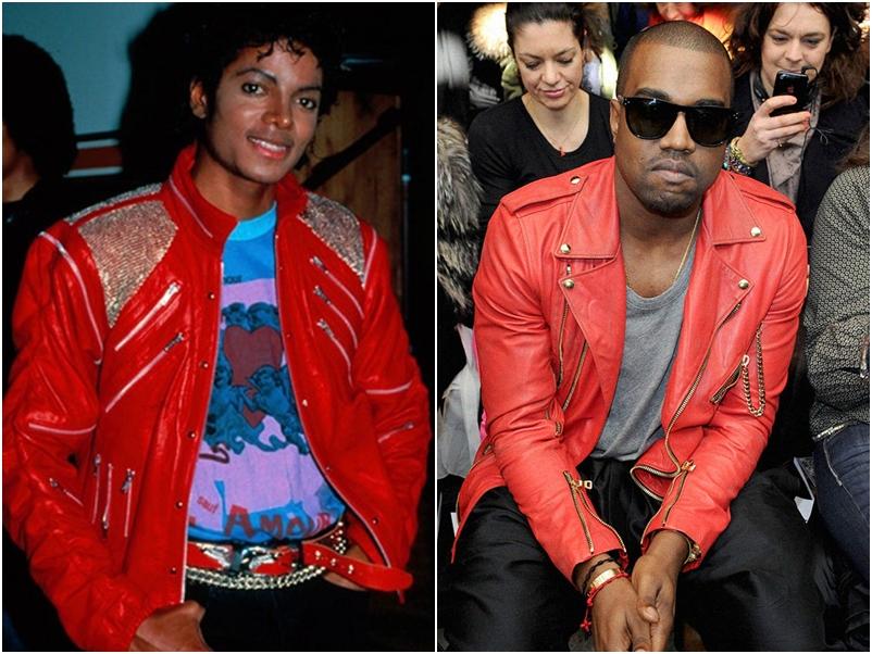 """Chiếc áo khoác da màu đỏ từng được đặt tên theo ca khúc """"Thriller"""" của MJ cũng là biểu tượng bất hủ, từng gây chú ý vì Kayne West chọn mặc những 2 lần, khi tham gia tuần lễ thời trang tại Paris năm 2011 và Met Gala 2015"""