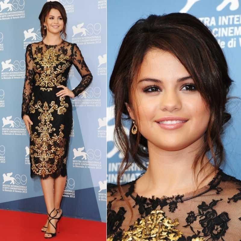 Selena Gomez từng mặc thiết kế của Dolce & Gabbana tại LHP Venice năm 2012...