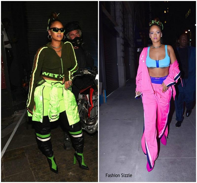 Tại Tuần lễ thời trang New York nữ ca sĩ Rihana từng thu hút mọi chú ý khi diện 2 thiết kế sắc neon siêu cá tính của chính mình từ BST Fenty x Puma xuân 2018.