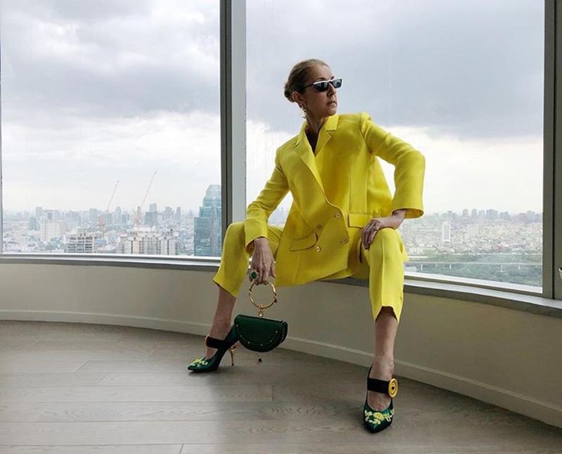 Trong tour diễn kéo dài với 22 điểm đến, Celine Dion đã hoàn toàn chinh phục khán giả cũng như giới mộ điệu với phong cách thời trang đa dạng của mình. Từ những thiết kế thanh lịch với nét chấm phá từ màu sắc bắt mắt như bộ suit của nhà mốt Maison Rabih Kayrouz, đôi giày và kính mát của Prada, túi xách của Chloe.