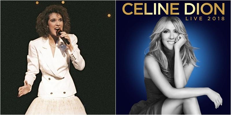 """Hình ảnh của Celine Dion khi mới được công chúng biết đến trong những năm đầu thập niên 80 (trái) và hình ảnh quảng bá Celine Dion Tour Live 2018 (phải) chứng minh nhan sắc """"không tuổi"""" của nữ diva."""