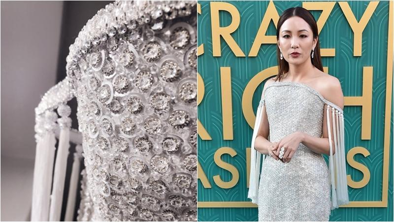 """Lóa mắt với váy đính 200.000 viên pha lê của Ngô Điềm Mẫn trên thảm đỏ công chiếu phim """"Crazy Rich Asians"""""""