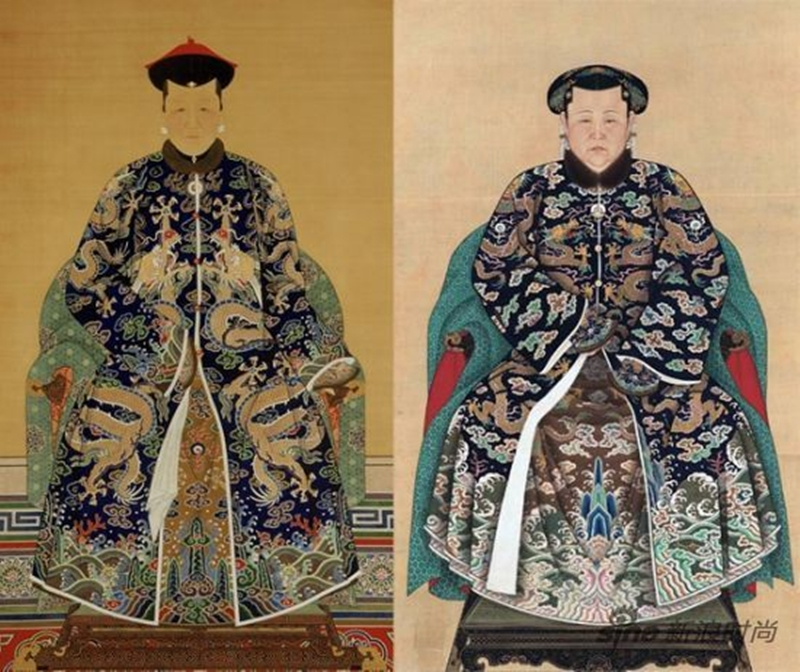 Tranh vẽ Thái hậu mặc Cát phục đội Cát phuc quan (trái) và Thái hậu khi mặc Cát phục quan đội Điền tử (phải).