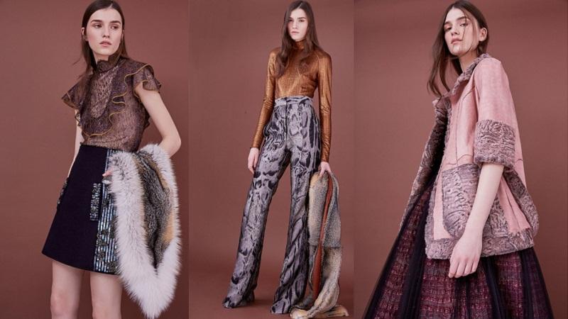 """Loạt áo, khăn lông thú của J. Mendel lại gợi lên hình ảnh các quý cô những năm cuối thập niên 60. Bên cạnh đó họa tiết da động vật cùng việc """"chơi"""" màu sắc khá ấn tượng với sự kết hợp của màu mận và rỉ sét, đỏ tía và bạc hà cũng khiến những thiết kế này vừa cổ điển, vừa hiện đại hơn bao giờ hết"""