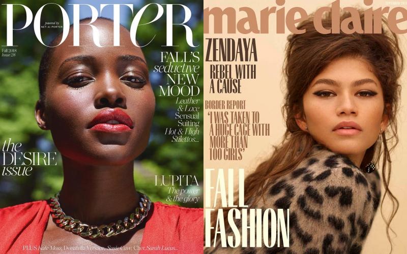 Lupita Nyong'o trên tạp chí Porter (trái) và Zendaya trên tờ Marie Claire