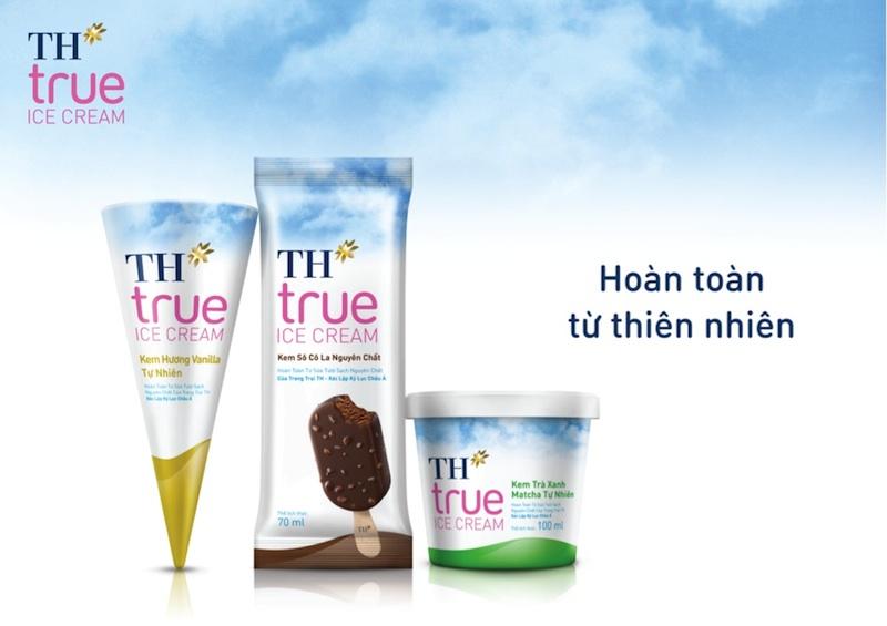 TH true ICE CREAM là sự hòa quyện tinh tế giữa sữa tươi sạch nguyên chất với các nguyên liệu tự nhiên như hương vanilla, matcha trà xanh, sô cô la.