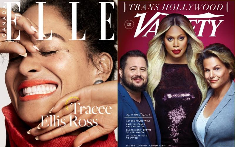 Tracee Ellis Ross trên Elle Canada (trái) và Laverne Cox là gương mặt trang bìa Variety