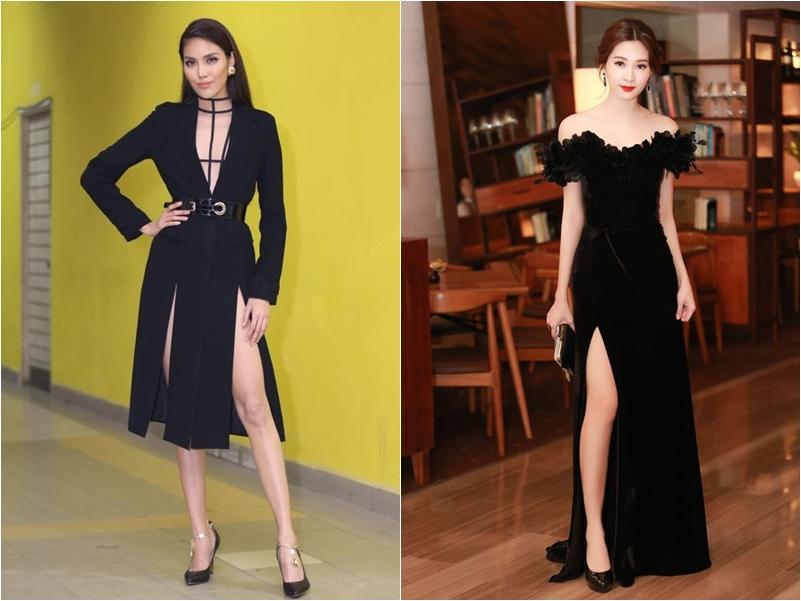 Lan Khuê (trái) và Hoa hậu Đặng Thu Thảo cũng thường xuyên diện đồ theo phong cách này.