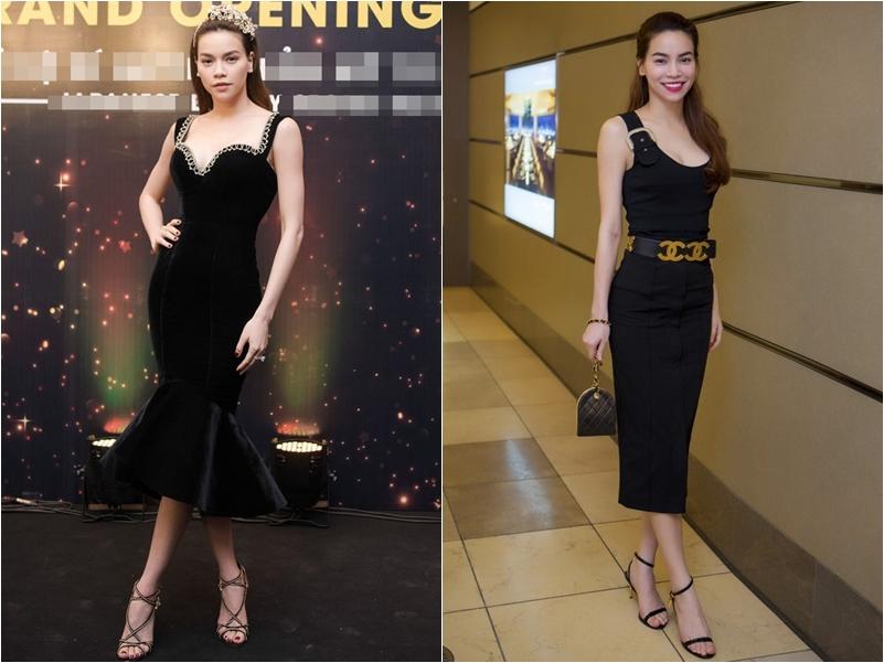 Kiểu cao gót thắt dây được Hồ Ngọc Hà rất ưa chuộng để phối cùng váy đen.