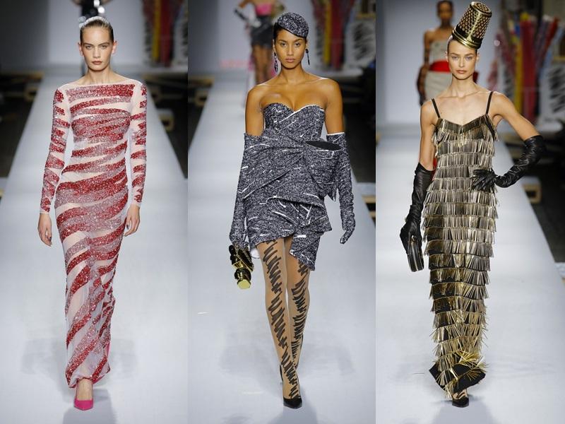 Bên cạnh đó, các mẫu đầm chất liệu vải kim tuyến, sequin, metallic cũng gây sự chú ý.