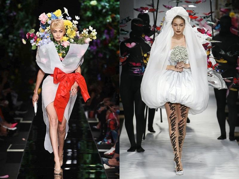 """Hình này khơi gợi đến khoảnh khắc Gigi Hadid hóa """"bó hoa di động"""" trong BST Xuân Hè 2018 của Moschino. Cả 2 thiết kế như kể một câu chuyện về vườn hoa Xuân của nhà mốt nước Ý."""