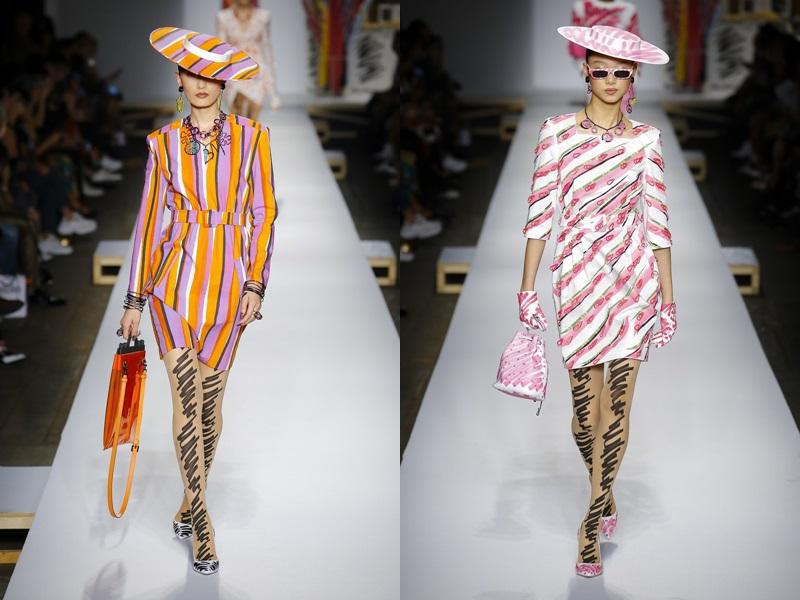 Bên cạnh đó, cũng bằng nét vẻ nguệch ngoạc ấy, Giám đốc Sáng tạo của Moschino tái hiện lại những đường kẻ sọc cổ điển từ những thập niên trước, đặc biệt gợi nhớ khi phối bằng gam màu nóng như hồng, cam,...