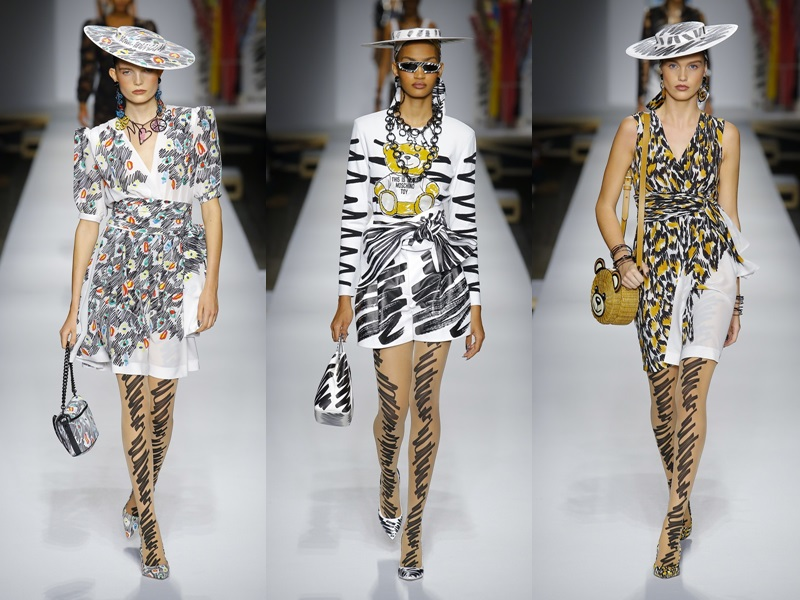 Mốt họa tiết da thú, rằn ri đang được nhiều fashionista lăng xê cũng xuất hiện trên sàn diễn của Moschino năm nay.