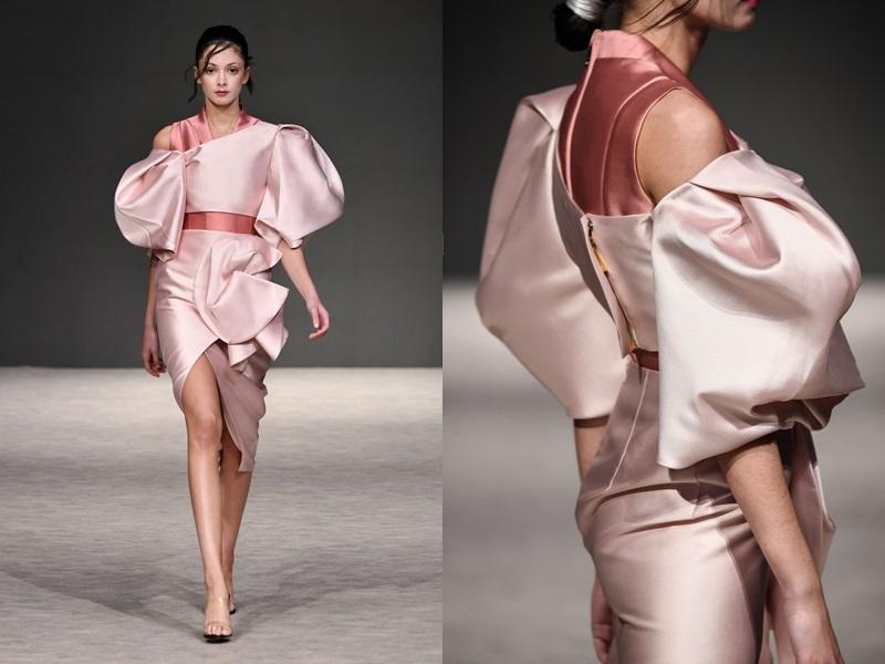 Chất liệu để có thể giúp lên được những phom dáng tuyệt đẹp ấy cũng được NTK Phương My đặt dệt riêng với một xưởng dệt cao cấp tại Nhật.