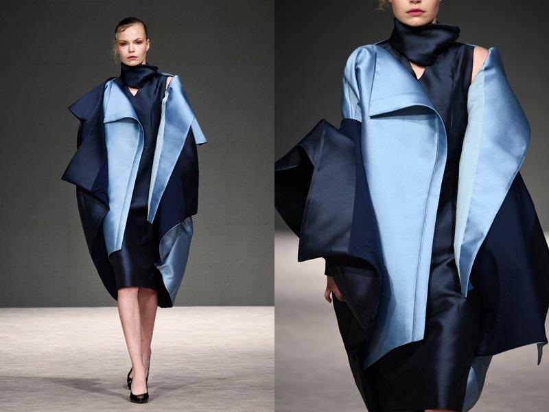 Một mẫu trang phục được trình diễn trên sàn runway đã được phối theo phong cách layers của mùa Thu Đông thì khi cởi từng lớp áo, người mặc vẫn có thể sáng tạo để mặc chúng theo gu ăn mặc của mỗi người.