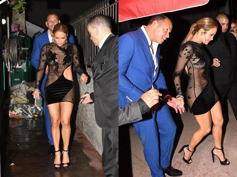 Trong tiệc sinh nhật lần thứ 48, JLo cũng chọn một bộ váy của Bao Tranchi. Thiết kế thu hút sự chú ý bởi phần khoét eo và chất liệu xuyên thấu nửa kín nửa hở, khoe vóc dáng đẫy đà của người đẹp.