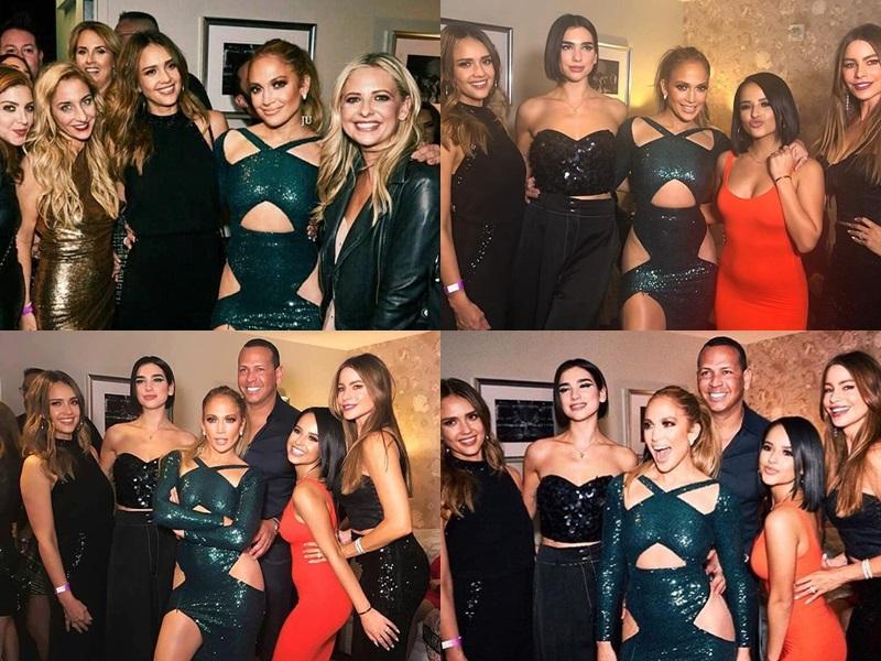 Jennifer Lopez cùng các sao nữ diện đồ gợi cảm trong bữa tiệc.