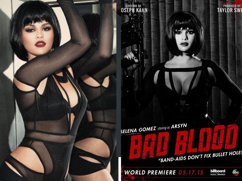 """Trong MV triệu views """"Bad Blood"""" của Taylor Swift, nữ ca sĩ Selena Gomez cũng góp mặt cùng một thiết kế cut-out của Bao Tranchi."""