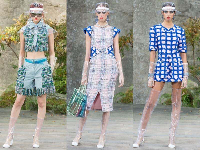 Như trong BST Xuân - Hè 2018 của Chanel, nhà mốt này đã mang đến những mẫu găng tay bằng nhựa trong suốt vô cùng lạ mắt.