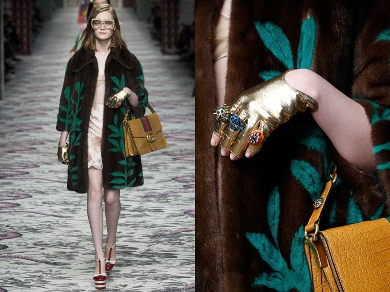 Hay Gucci từng cho ra mắt thiết kế găng tay ánh kim sang chảnh hết nấc.
