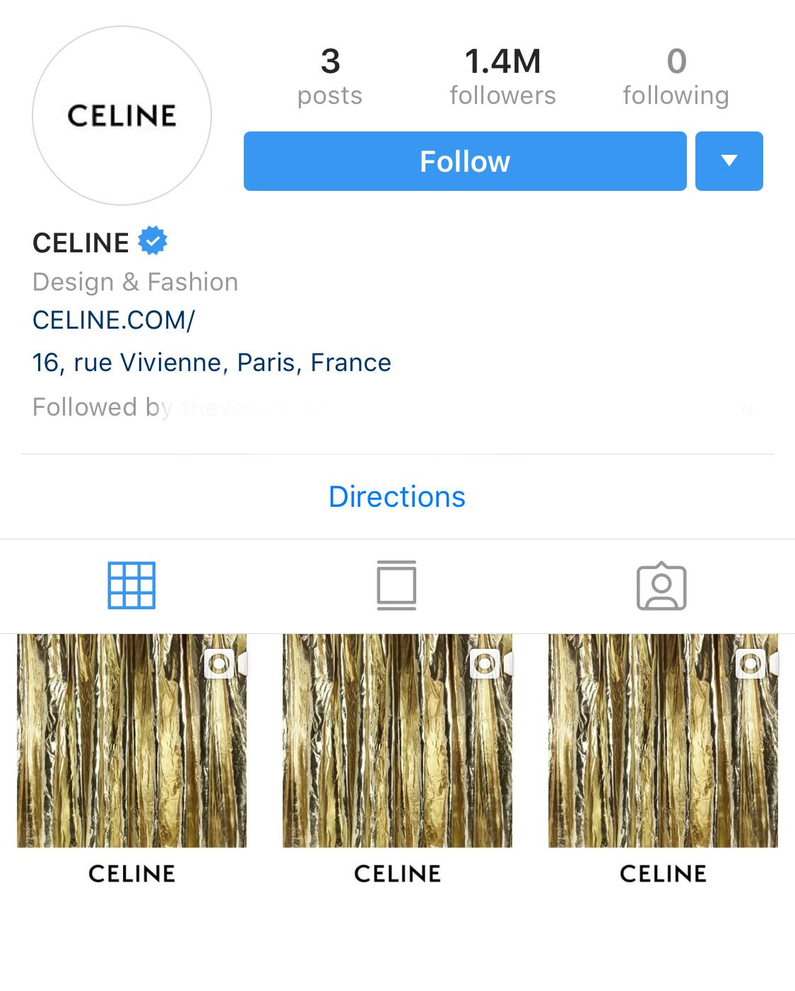 Toàn bộ lịch sử bài đăng trước kia của Celine đã được xóa sạch.