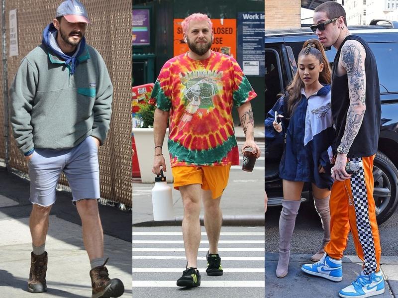 (Từ trái qua) Shia LaBeouf, Jonah Hill và Pete Davidson cũng là những sao nam đang tích cực lăng xê cho phong cách Scumbro.