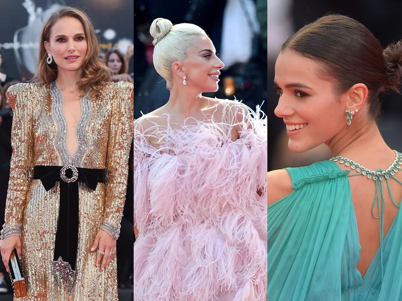 """Từ trái qua: Natalie Portman, Lady Gaga và Bruna Marquezine """"lấp lánh"""" trên thảm đỏ LHP Venice trong các lựa chọn trang sức từ Chopard."""