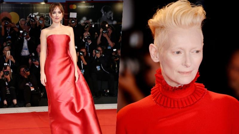 """Mỹ nhân """"50 sắc thái"""" Dakota Johnson diện đầm quây đỏ đồng điệu với bạn diễn Tilda Swinton"""