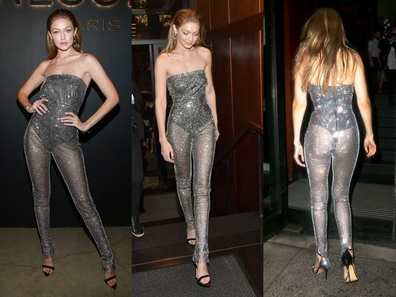 Hay thiết kế jumpsuit xuyên thấu đính pha lê óng ánh trong đêm bế mạc NYFW.