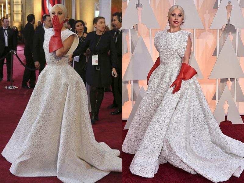 """Không riêng Jena mà ngay cả Lady Gaga cũng từng bị cư dân mạng mỉa mai vì mang găng tay như đi... rửa chén! Thiết kế đầm phom dáng xòe vốn khá lộng lẫy, nếu tiết chế lại thành một đôi găng tay ôm sát bàn tay thì chắc có lẽ giọng ca """"Bad Romance"""" đã không nhận nhiều """"gạch đá"""" đến thế."""