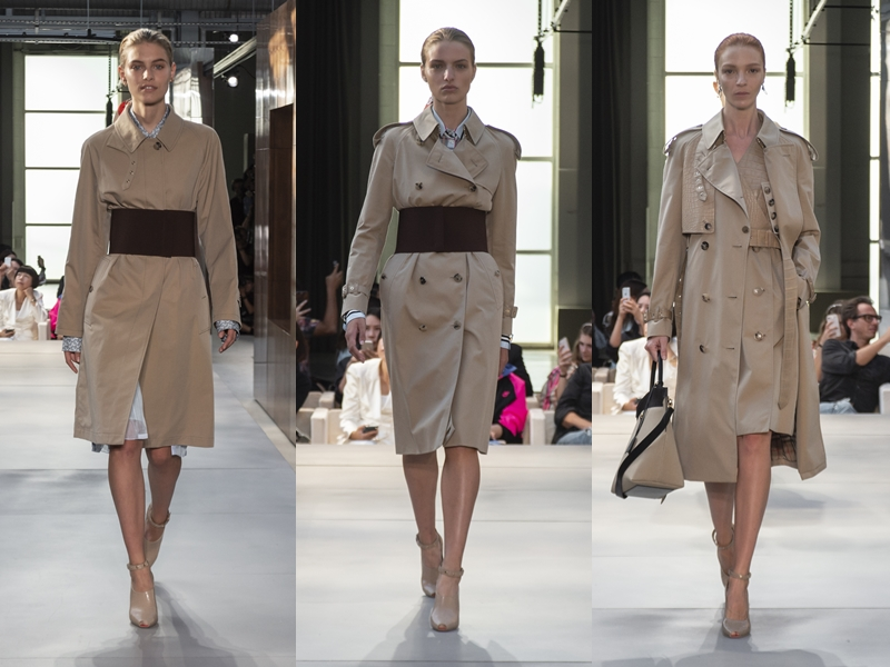 Những chiếc áo khoác trench trứ danh của Burberry cũng được thể hiện theo nhiều cách mới mẻ.